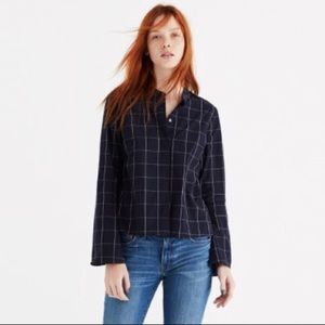 Madewell Windowpane Bell-Sleeve Top